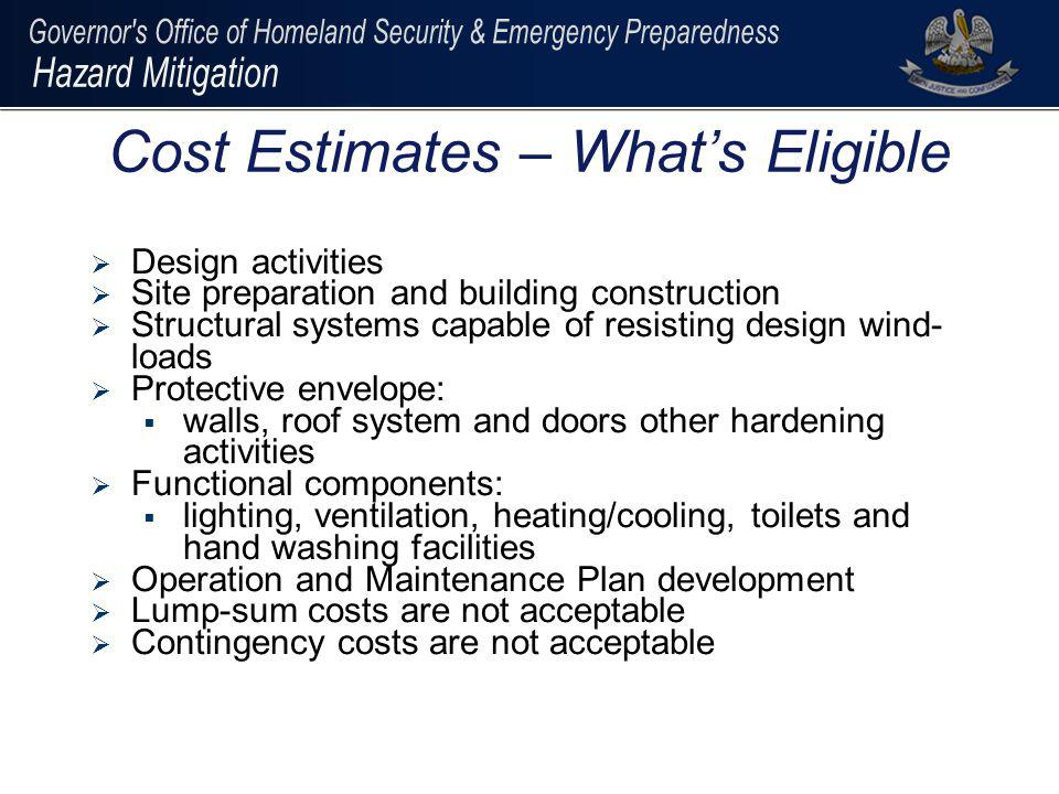 Cost Estimates – What's Eligible