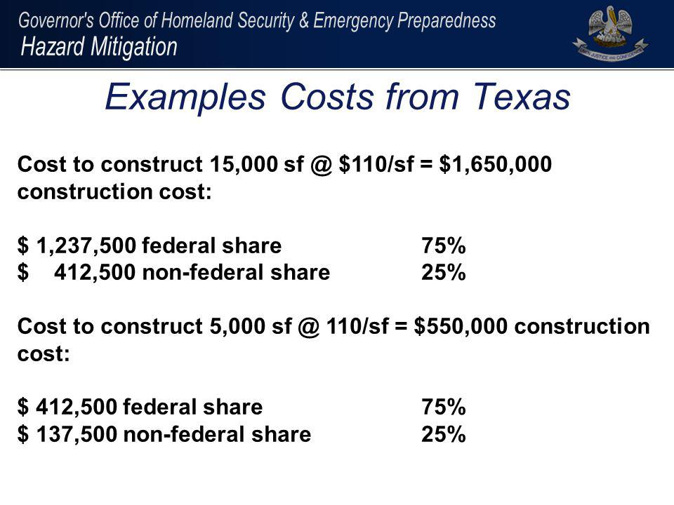 Examples Costs from Texas