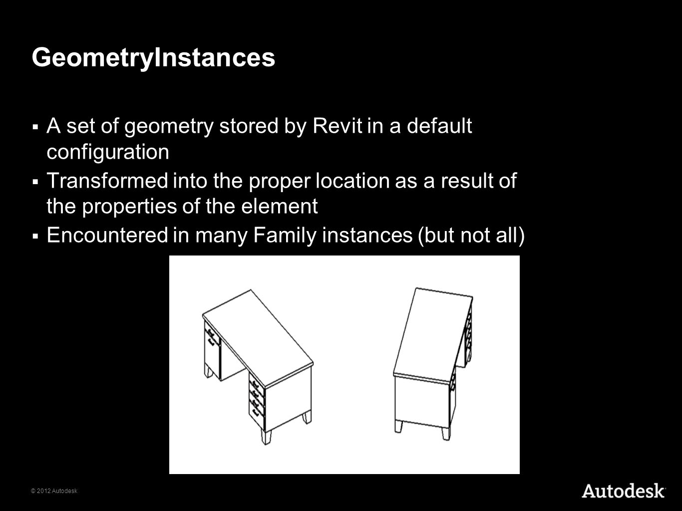 GeometryInstances A set of geometry stored by Revit in a default configuration.