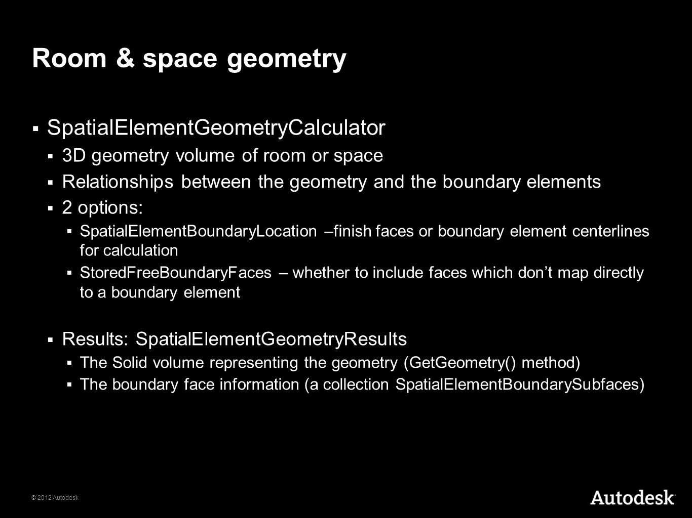 Room & space geometry SpatialElementGeometryCalculator