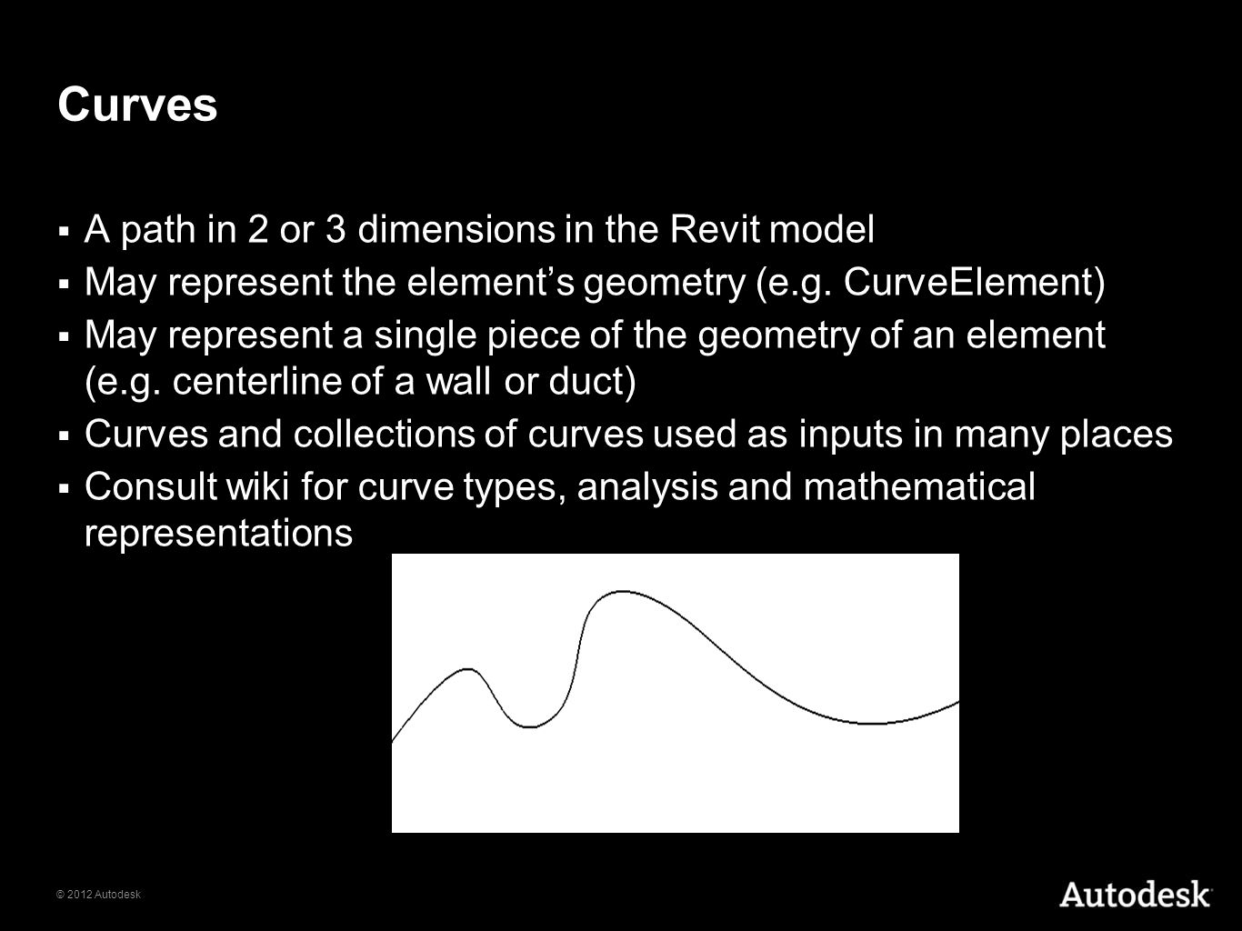 Curves A path in 2 or 3 dimensions in the Revit model