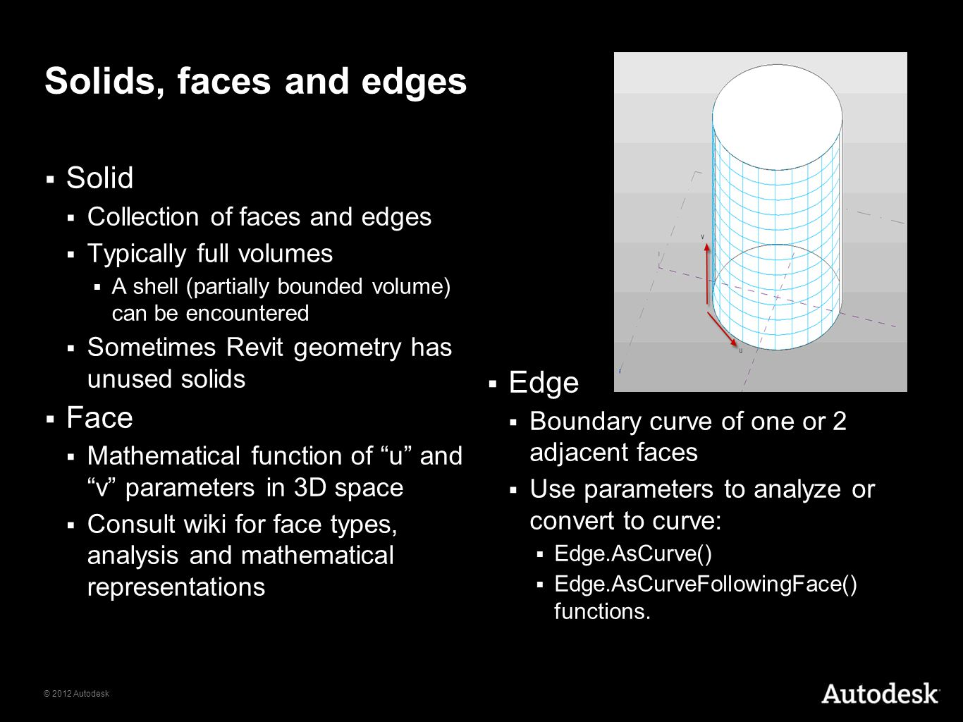Solids, faces and edges Solid Edge Face Collection of faces and edges