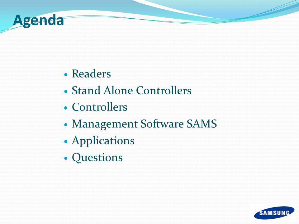 Agenda Readers Stand Alone Controllers Controllers