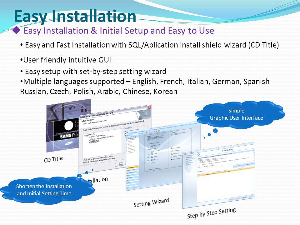 Easy Installation Easy Installation & Initial Setup and Easy to Use