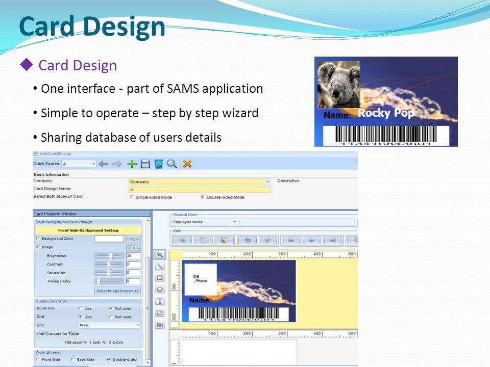 Card Design Card Design One interface - part of SAMS application