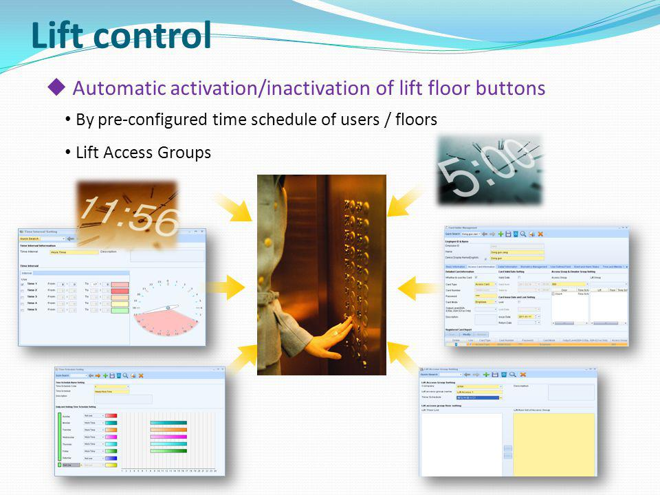 Lift control Automatic activation/inactivation of lift floor buttons
