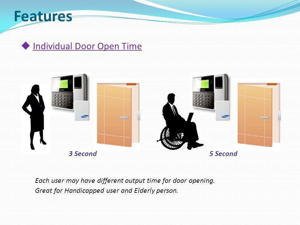 Features Individual Door Open Time 3 Second 5 Second