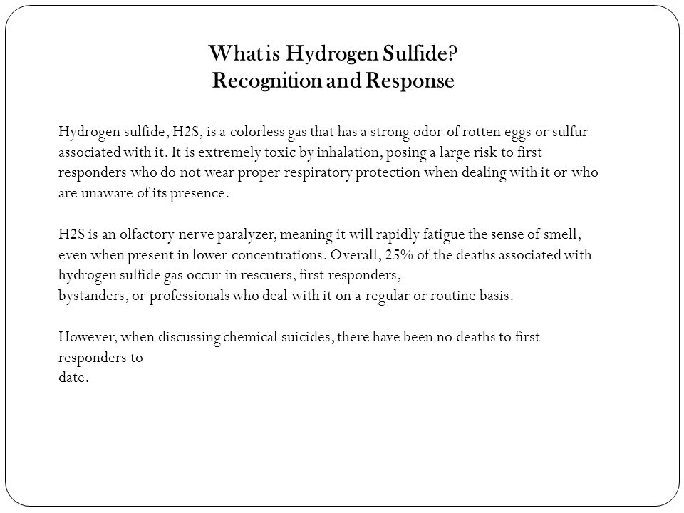 What is Hydrogen Sulfide Recognition and Response