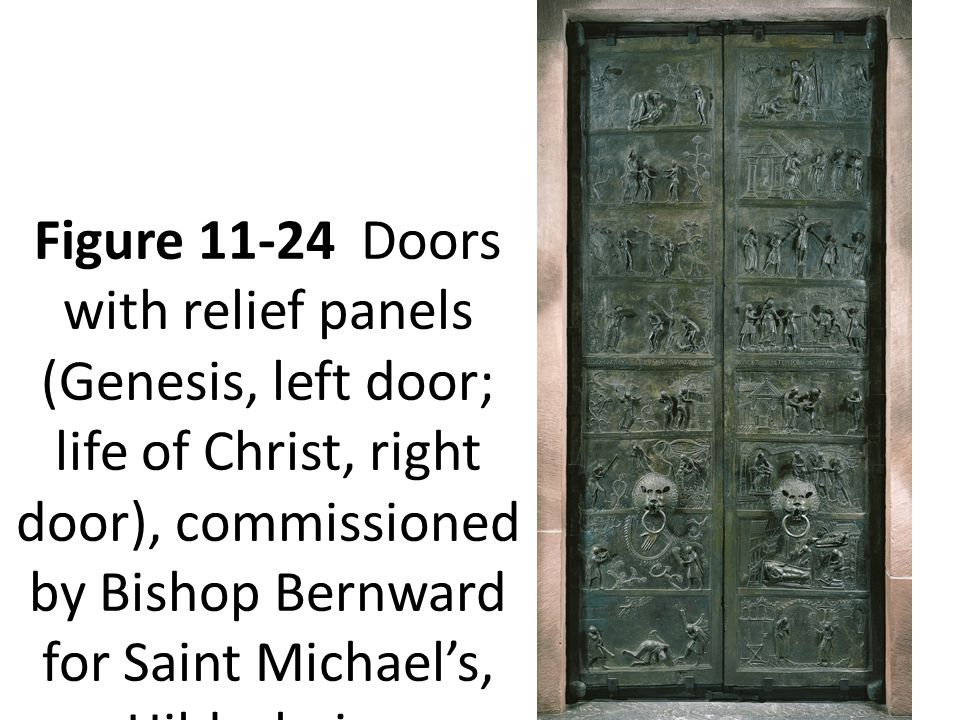 Figure 11-24 Doors with relief panels (Genesis, left door; life of Christ, right door), commissioned by Bishop Bernward for Saint Michael's, Hildesheim, Germany, 1015.