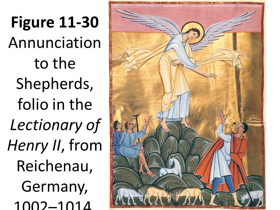 Figure 11-30 Annunciation to the Shepherds, folio in the Lectionary of Henry II, from Reichenau, Germany, 1002–1014.