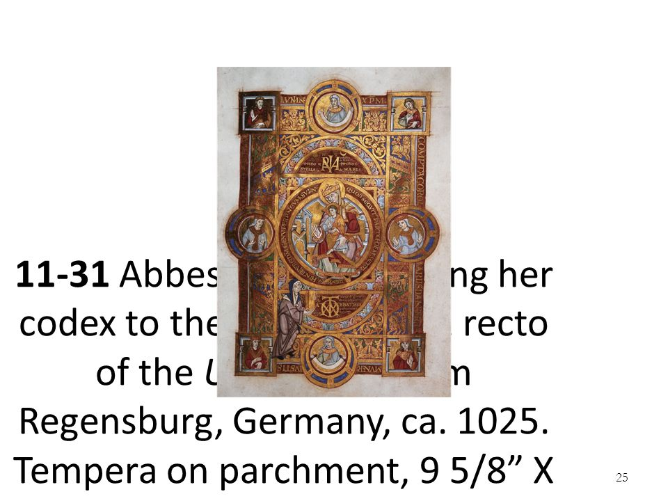 11-31 Abbess Uta dedicating her codex to the Virgin, folio 2 recto of the Uta Codex, from Regensburg, Germany, ca.
