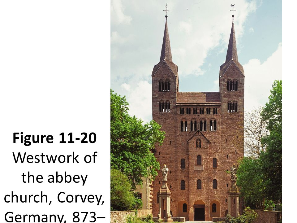 Figure 11-20 Westwork of the abbey church, Corvey, Germany, 873–885.