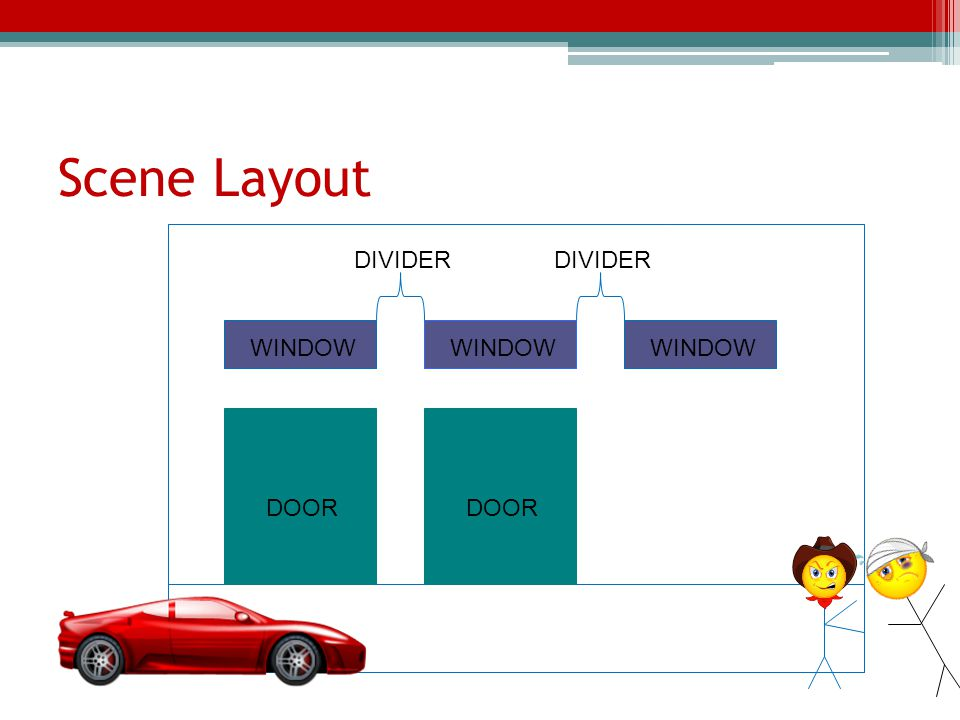 Scene Layout DIVIDER DIVIDER WINDOW WINDOW WINDOW DOOR DOOR