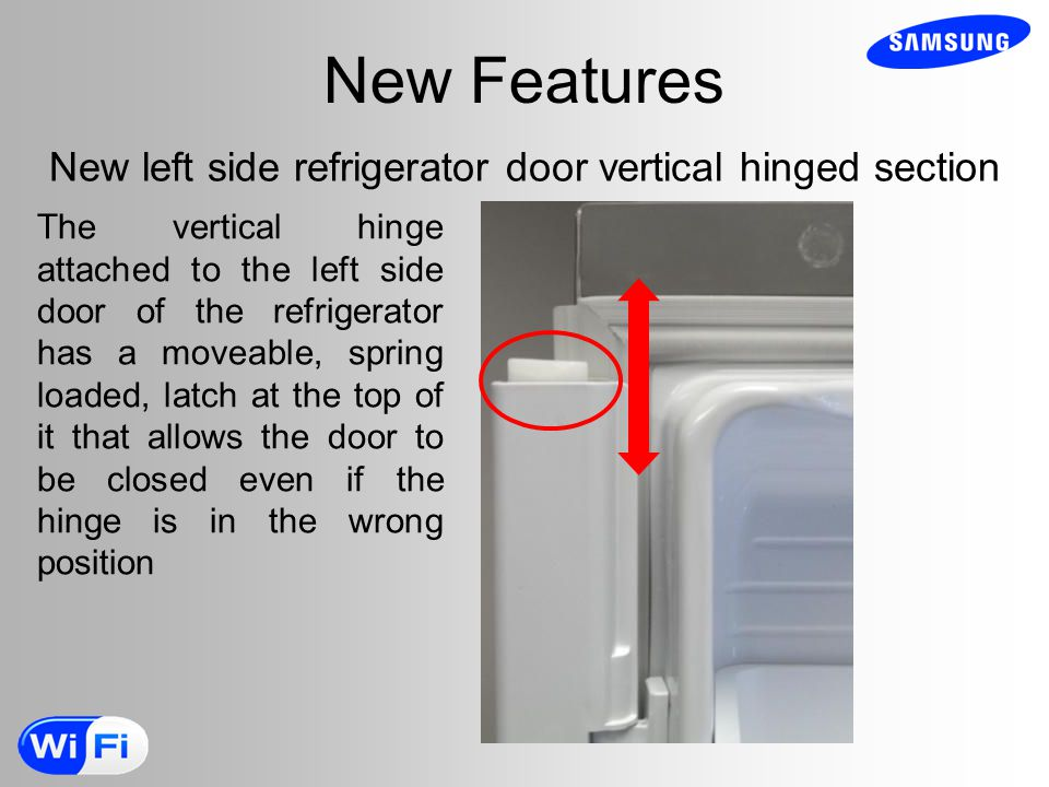New left side refrigerator door vertical hinged section