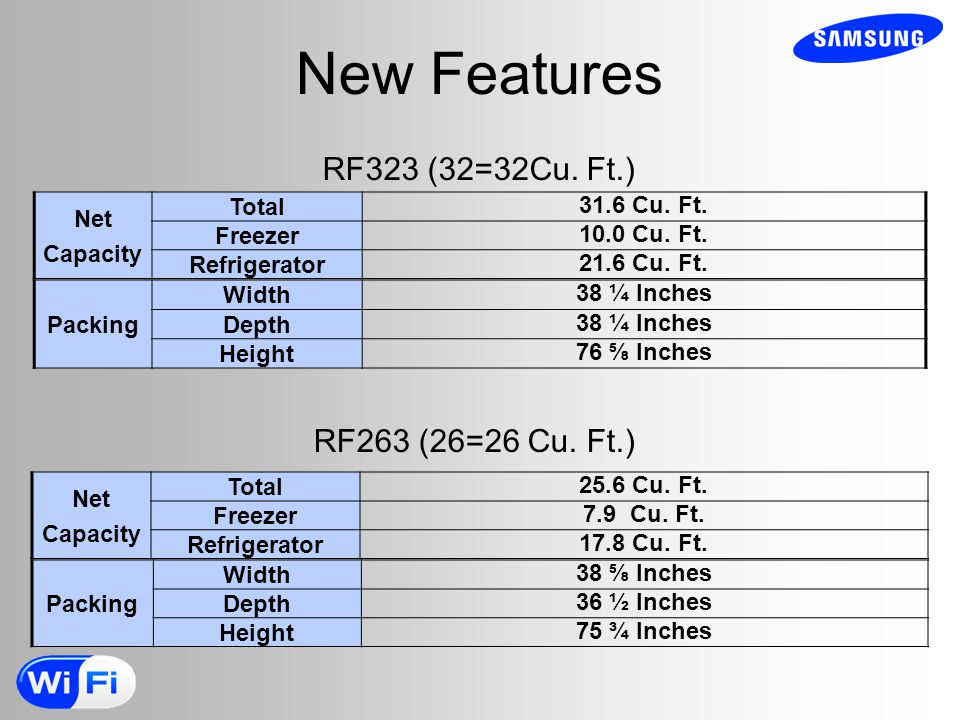 New Features RF323 (32=32Cu. Ft.) RF263 (26=26 Cu. Ft.) Net Capacity