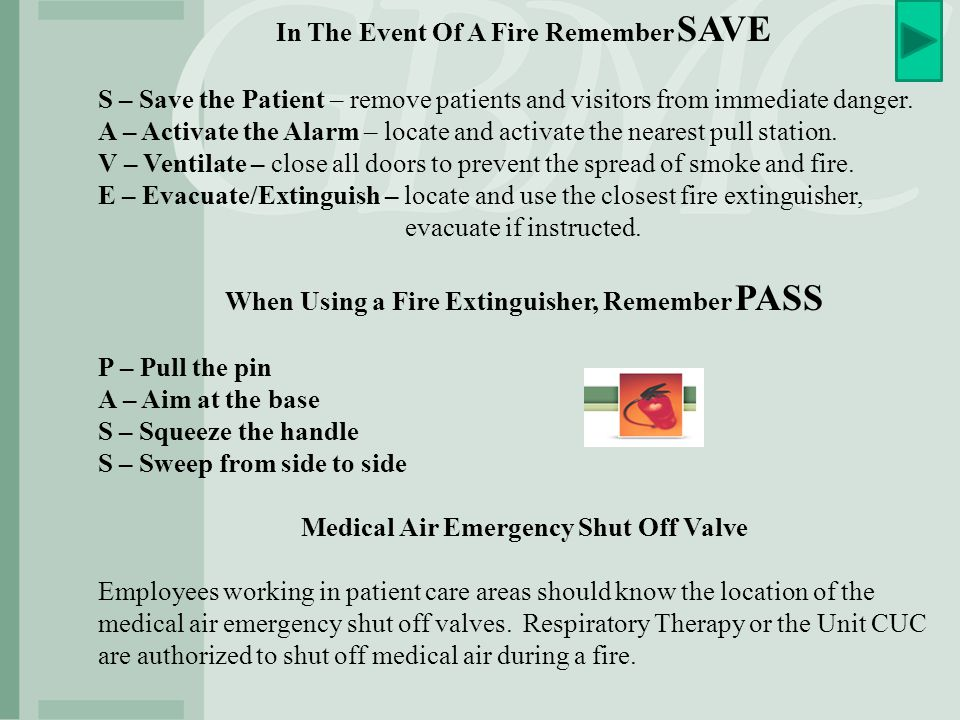 In The Event Of A Fire Remember SAVE