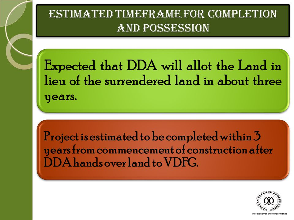 Estimated Timeframe for Completion and Possession