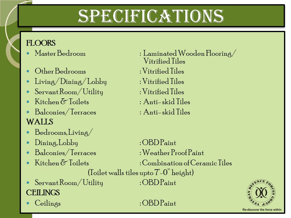 SPECIFICATIONS FLOORS