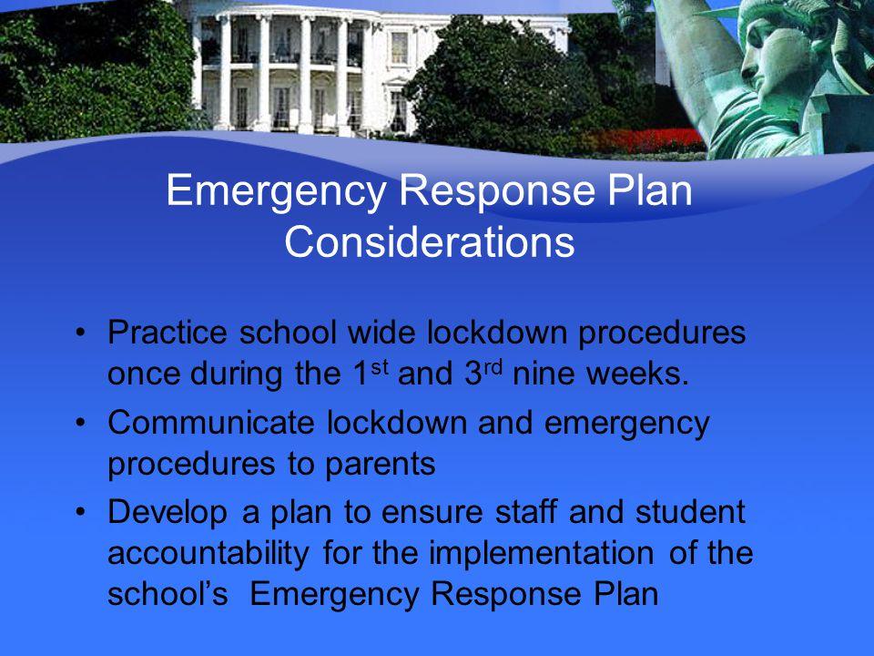 Emergency Response Plan Considerations