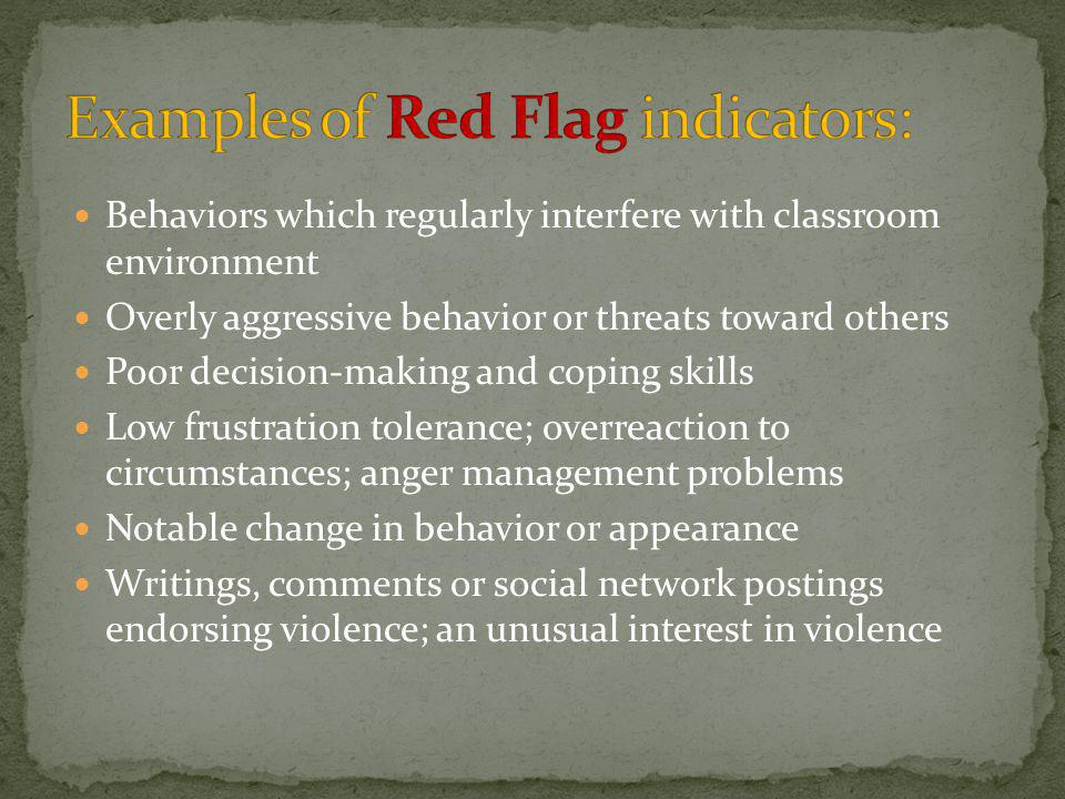 Examples of Red Flag indicators: