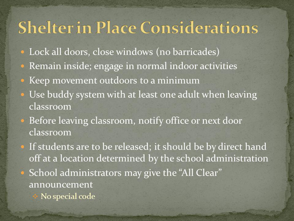 Shelter in Place Considerations
