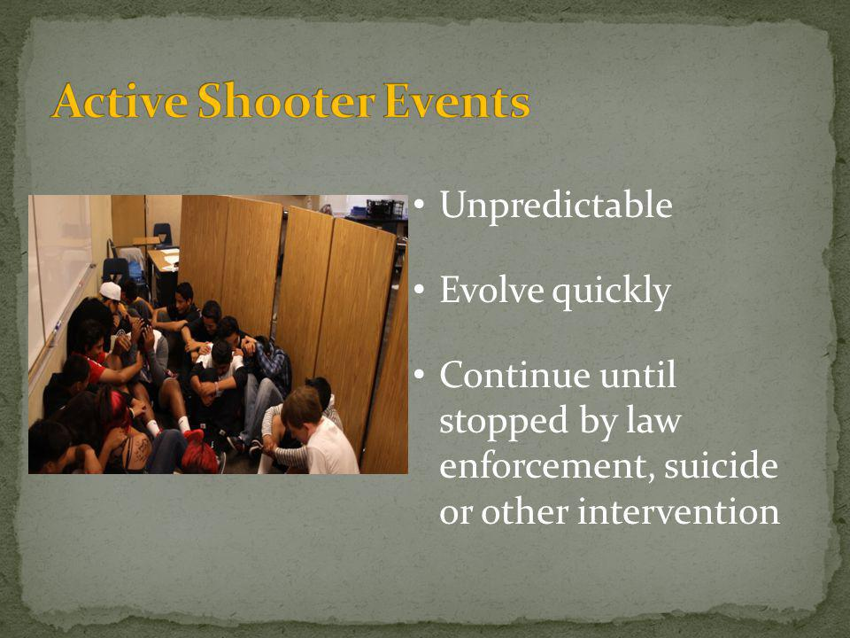 Active Shooter Events Unpredictable Evolve quickly