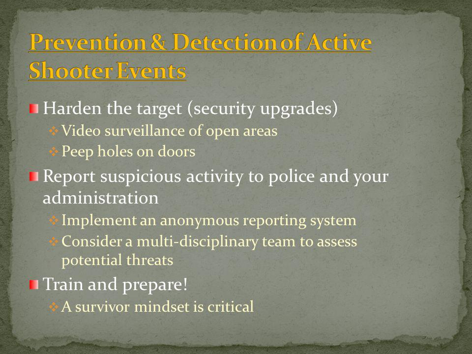 Prevention & Detection of Active Shooter Events