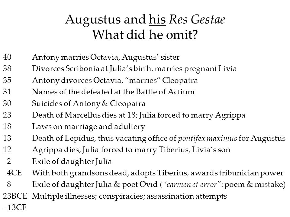 Augustus and his Res Gestae What did he omit