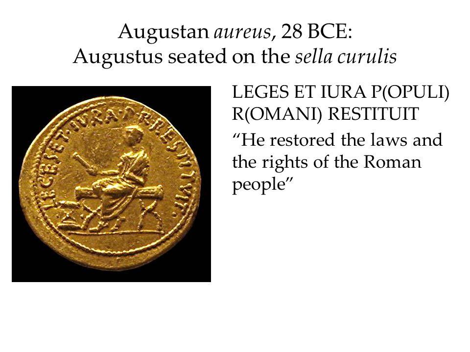 Augustan aureus, 28 BCE: Augustus seated on the sella curulis
