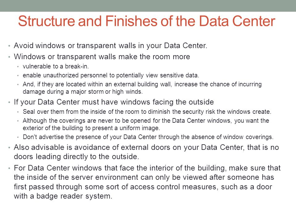 Structure and Finishes of the Data Center