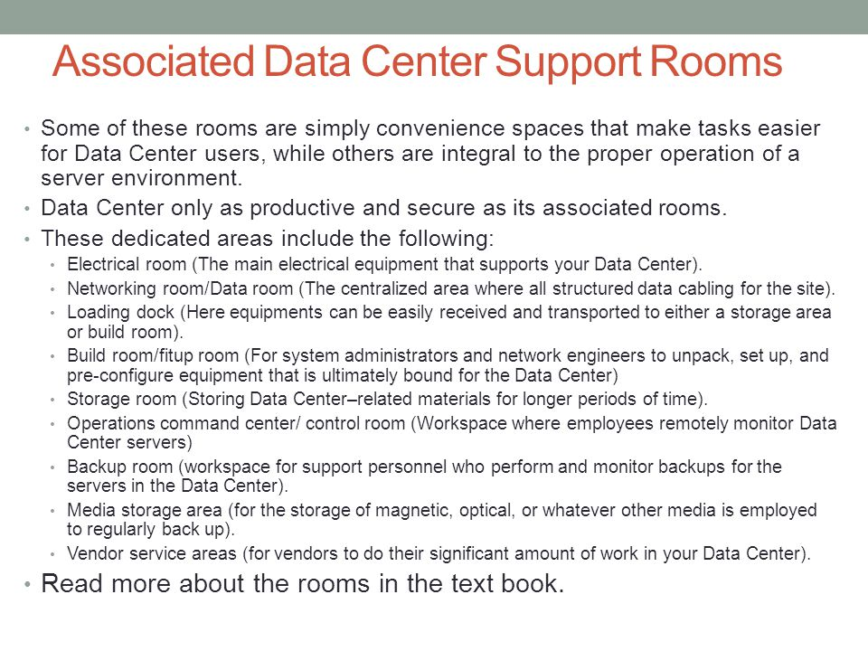 Associated Data Center Support Rooms