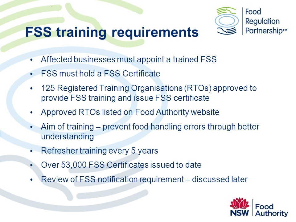 FSS training requirements