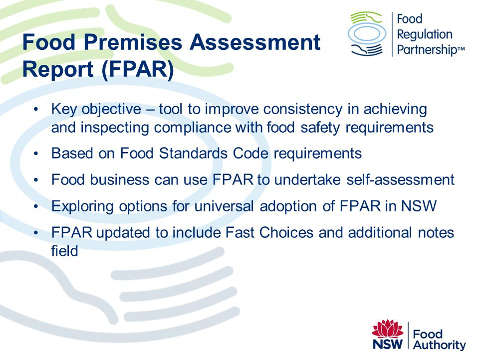 Food Premises Assessment Report (FPAR)