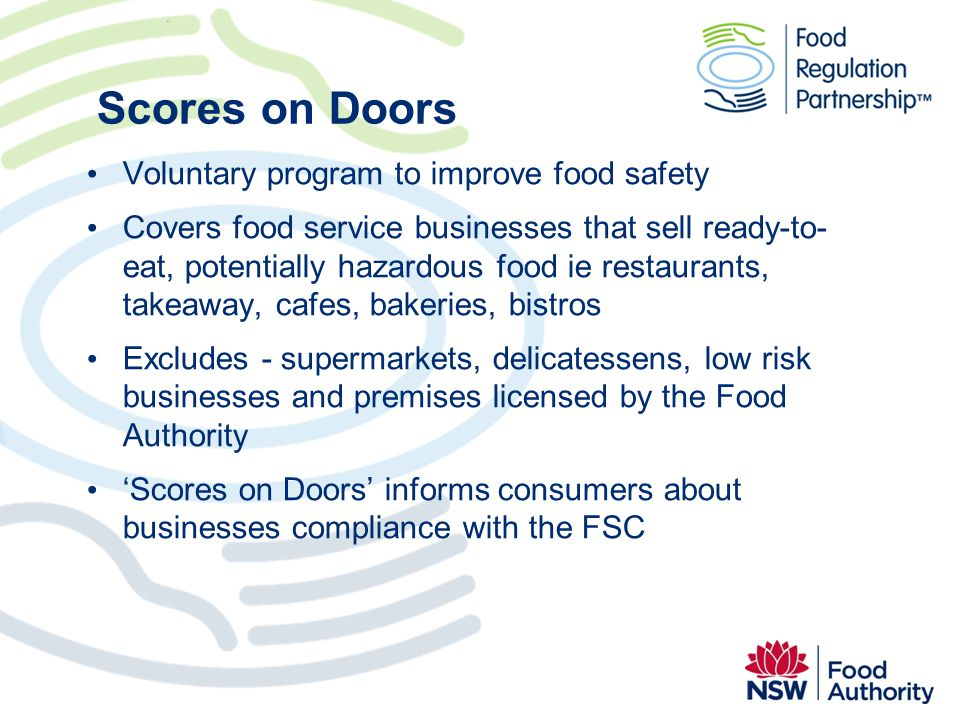 Scores on Doors Voluntary program to improve food safety