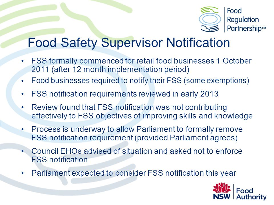 Food Safety Supervisor Notification