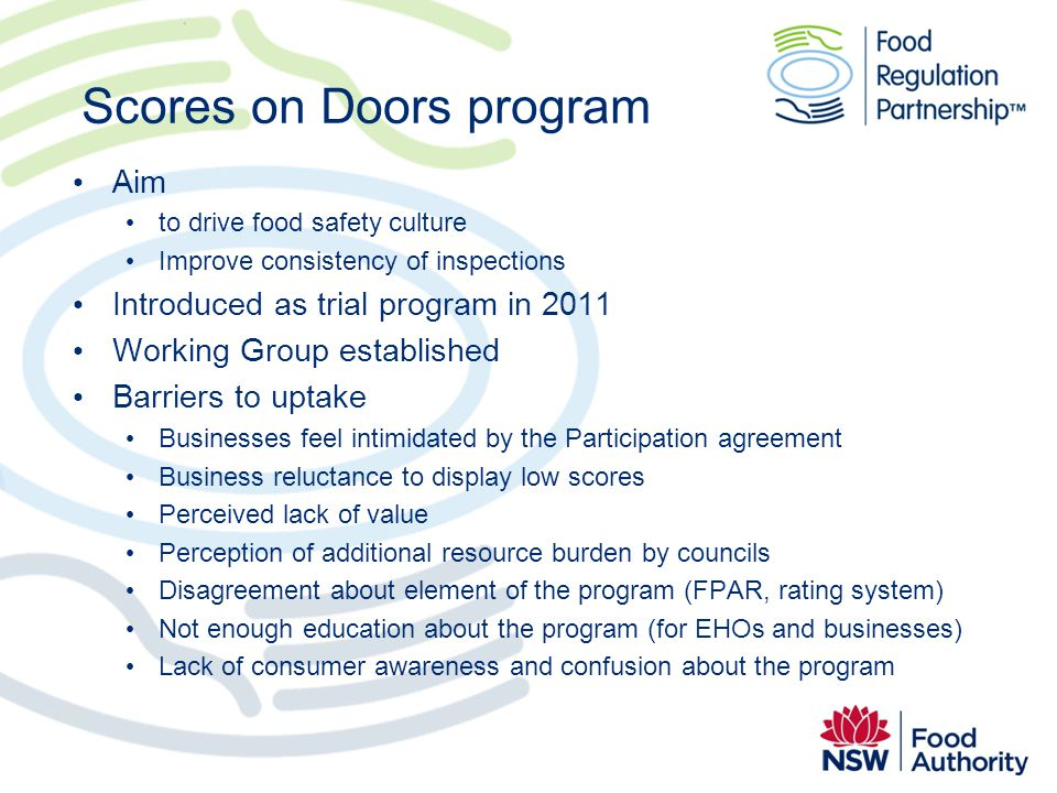 Scores on Doors program