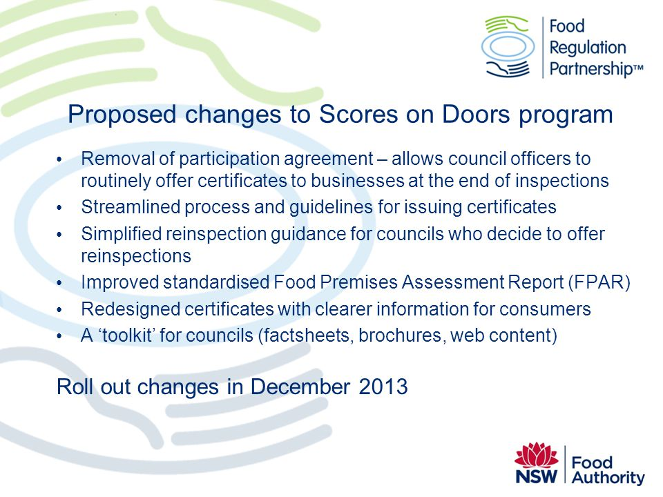 Proposed changes to Scores on Doors program