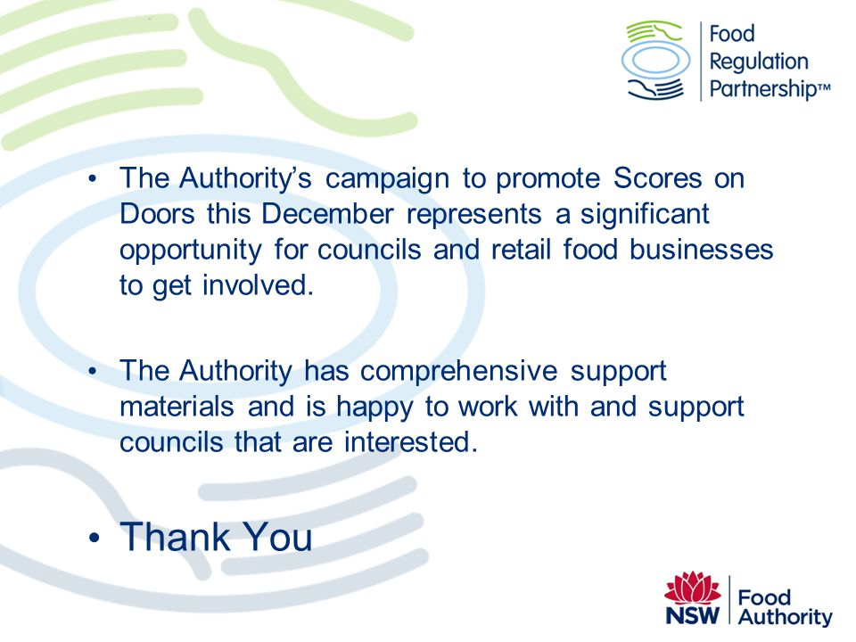 The Authority's campaign to promote Scores on Doors this December represents a significant opportunity for councils and retail food businesses to get involved.