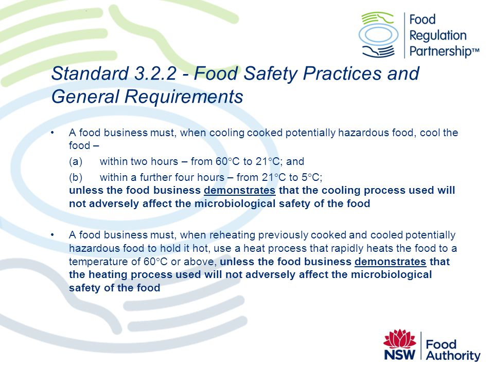 Standard 3.2.2 - Food Safety Practices and General Requirements