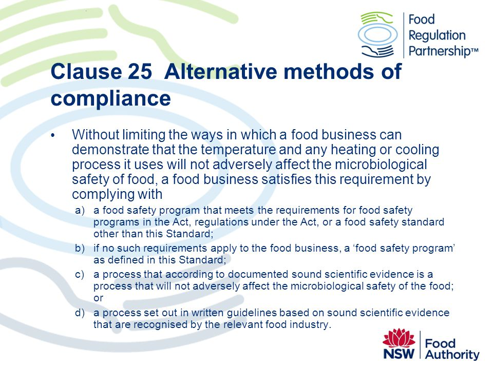 Clause 25 Alternative methods of compliance