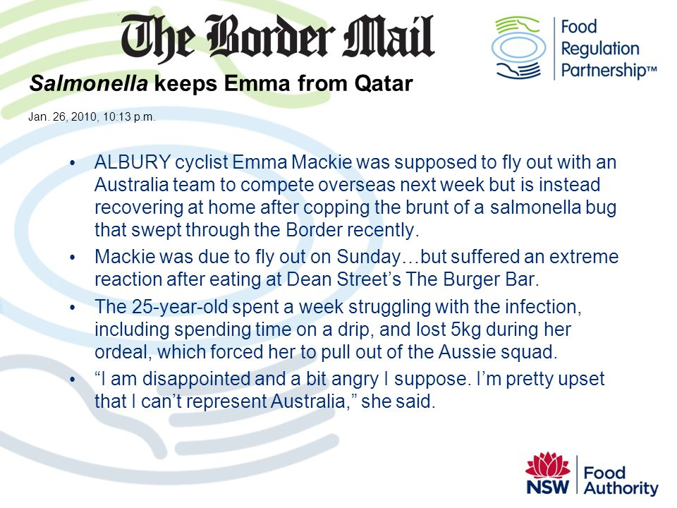 Salmonella keeps Emma from Qatar