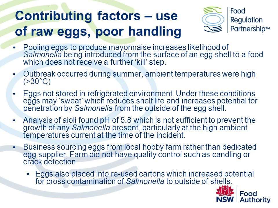 Contributing factors – use of raw eggs, poor handling
