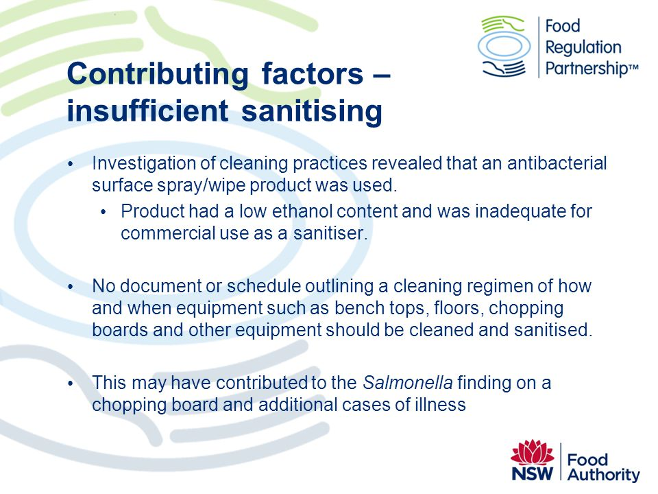 Contributing factors – insufficient sanitising