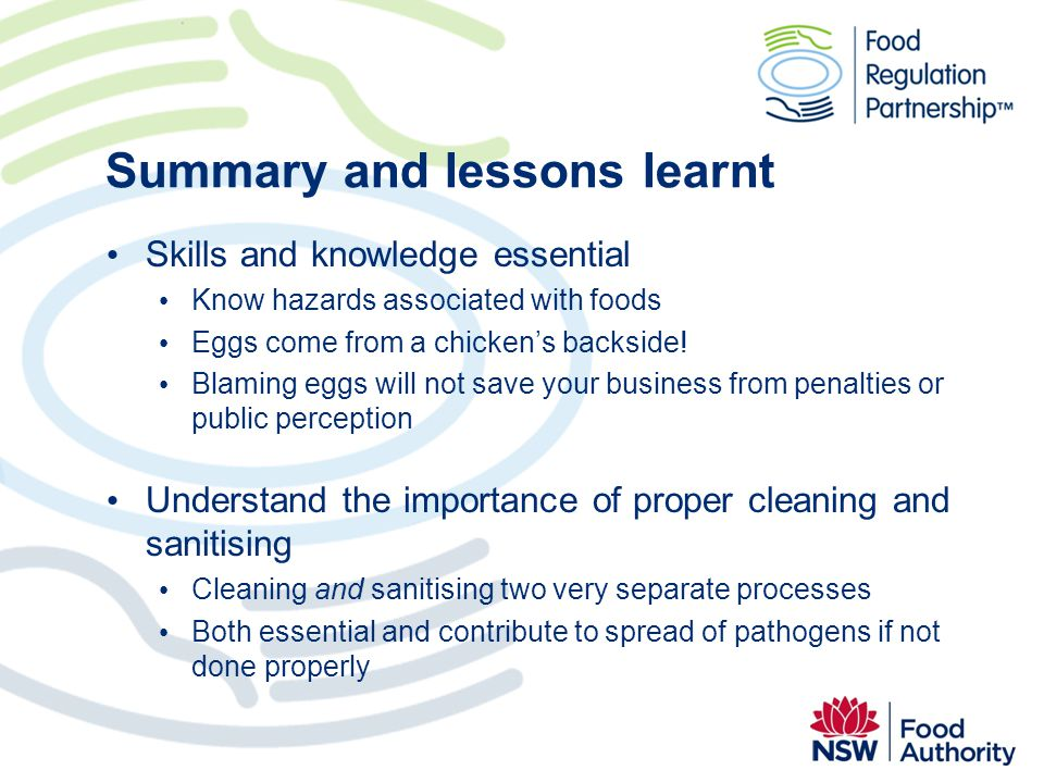 Summary and lessons learnt
