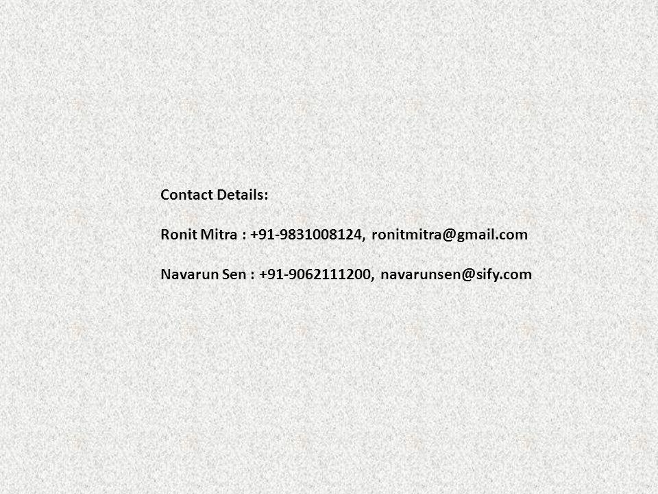 Contact Details: Ronit Mitra : +91-9831008124, ronitmitra@gmail.com.