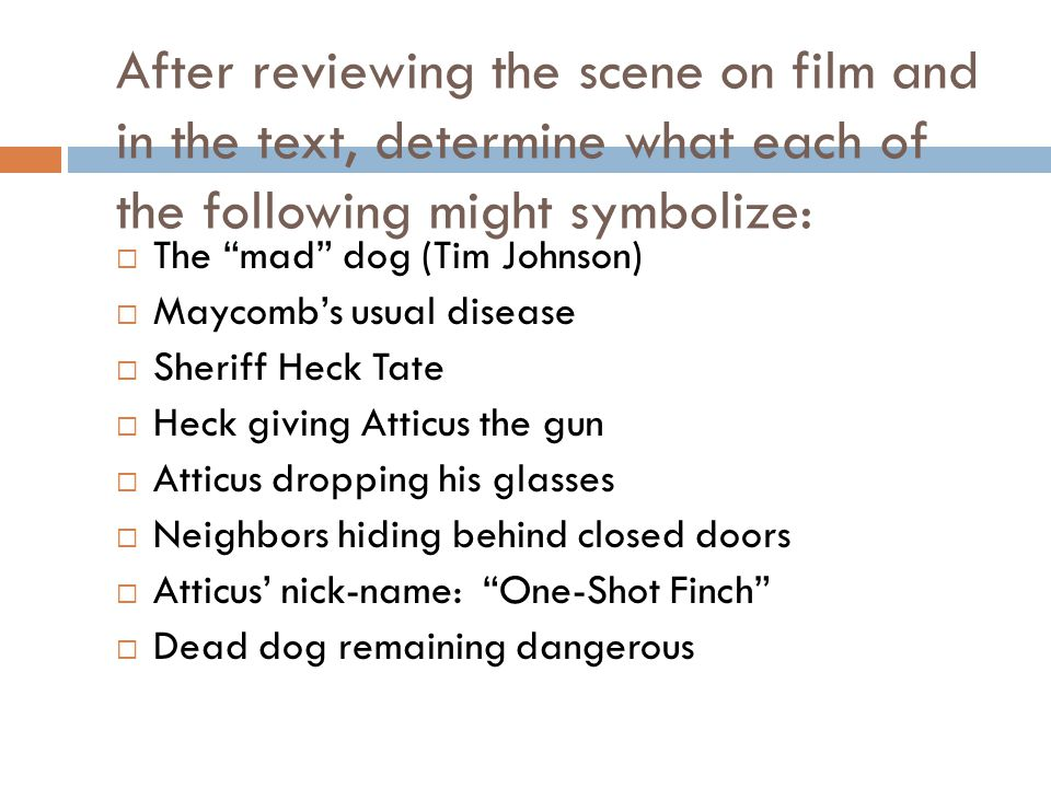 After reviewing the scene on film and in the text, determine what each of the following might symbolize: