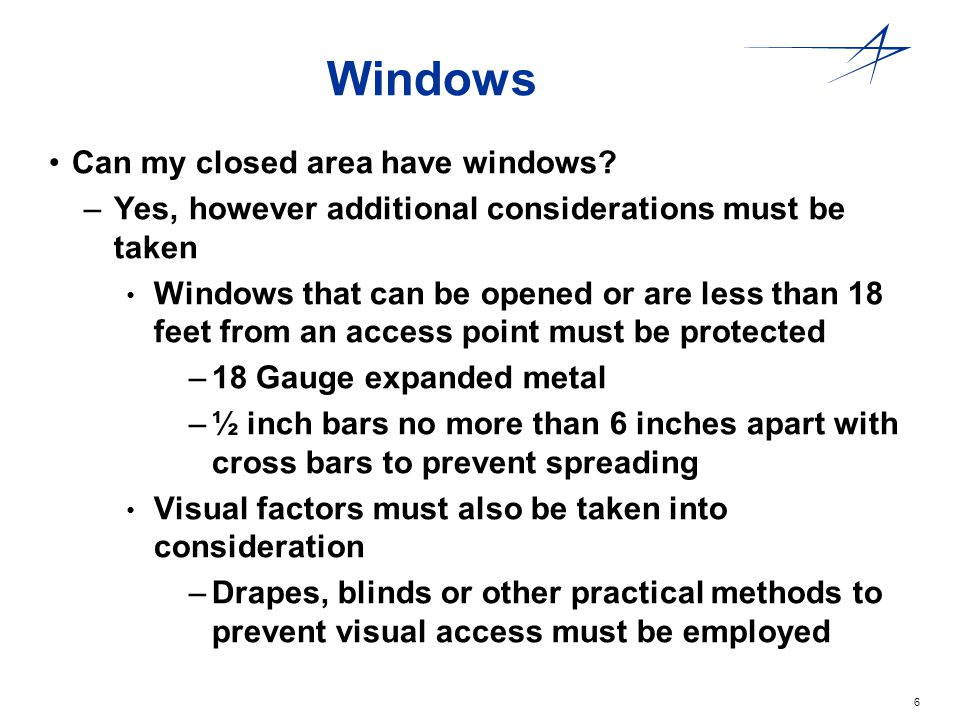Windows Can my closed area have windows