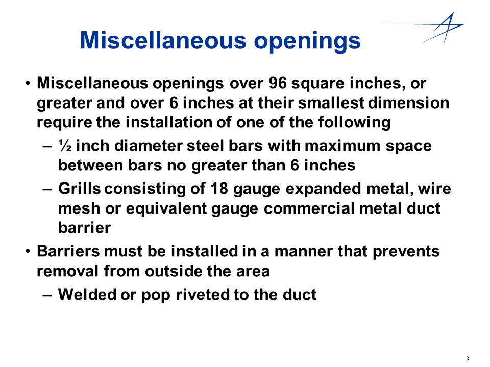 Miscellaneous openings