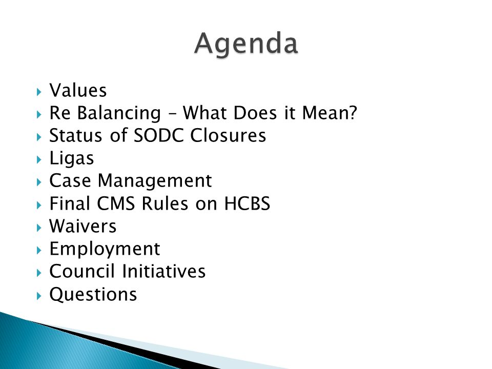 Agenda Values Re Balancing – What Does it Mean