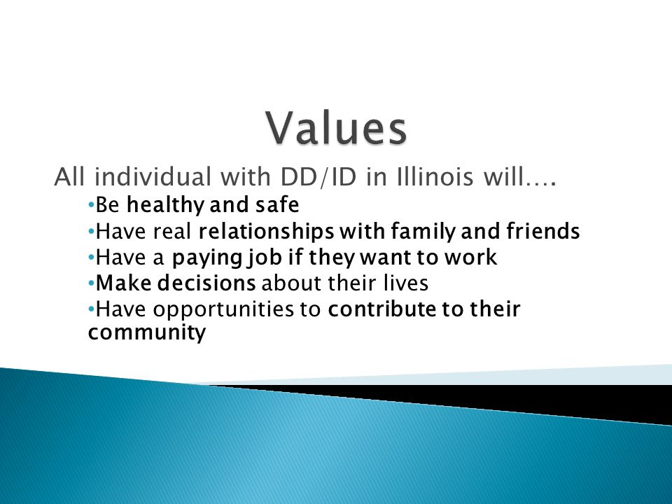 Values All individual with DD/ID in Illinois will….